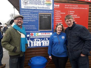Angels Foodbank March 2020.  L to R Neil Durling Club Chaplain, Amy Weaver Director, Pete Shearman TBC and Angels supporter.
