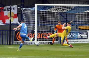 Ben Greenhalgh scores his first in the Angels 5-0 win against Taunton Town in the FA Cup 4th Qualifying Rd