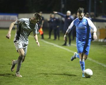 Ben Greenhalgh with a trademark run down the wing against Chippenham Town 04.01.20.