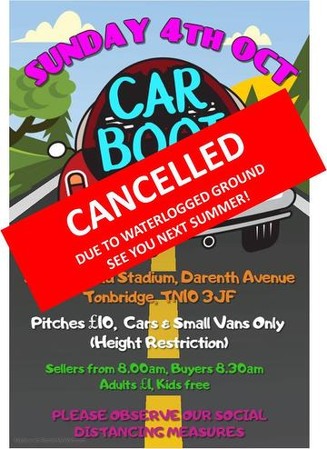 Car Boot Sale cancelled 03.10.20.