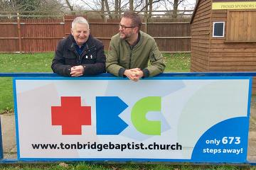 Dave Netherstreet, Chairman Tonbridge Angels and Neil Durling, Lead Minister Tonbridge Baptist Church and Club Chaplain, Sponsorship January 2020.