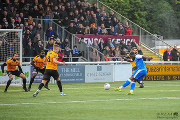 Jason Williams scoring in the 2-2 away draw with Maidstone Utd. 01.01.20. Photo : Wes Filtness.