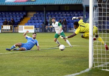 Joe Turner scores against Bognor Regis Town FA Trophy 3rd. Qualifying Rd.  23.11.19. Angels 2, Bognor 1.