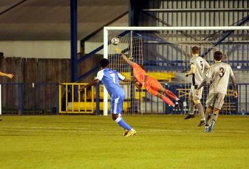 Khale da Costa scores second Angels goal Angels 4 Chippenham Town 0 12.01.21.