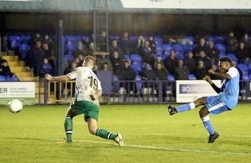 Khale da Costa scoring Angels second goal in the 2-1 win against St Albans City 16.11.19.