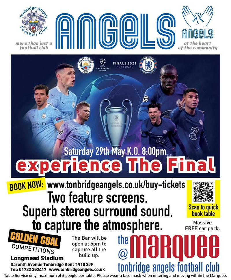 Tomorrow! Watch the Champions League Final in the Marquee ...
