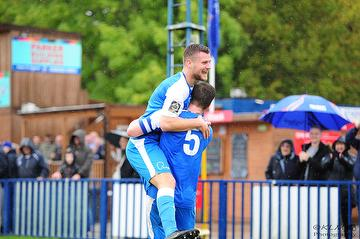 Rian Bray receives congratulations from Sonny Miles after scoring against Braintree Town 12.10,19.