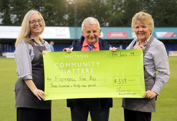Waitrose presenting a cheque for £339 to Chairman Dave Netherstreet 07.09.19.